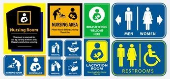 Set of restroom, nursing room, lactation room placard sign. Easy to modify vector illustration