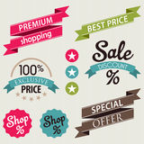 Set of retail stickers and ribbons Stock Photography