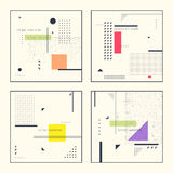 Set retro abstract geometric backgrounds. The poster with the flat figures. Royalty Free Stock Photos