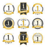 Set of Retro Anniversary Badges 1st Year Celebration. Vector royalty free illustration