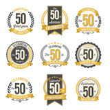 Set of Retro Anniversary Badges 50th Year Celebration. Stock Photos