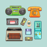 Set of retro appliances. Gaming and video device, the phone Royalty Free Stock Photo
