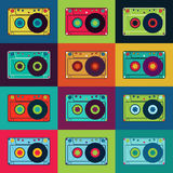 Set of retro audio cassettes. Retro poster with colorful cassettes. Vector illustration. Stock Images