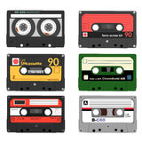 Set of retro audio cassettes. Tape and audio, music and sound, media and record Stock Images