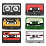 Set retro audio kasety Taśma, audio, muzyka, dźwięk, środki i rejestr, royalty ilustracja