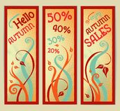 Set of retro autumn banners with swirls. Royalty Free Stock Photos