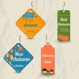 Set of 4 retro autumn tags. Stock Photo