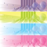 Set of retro backgrounds with lines and bubbles Royalty Free Stock Image