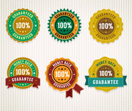 Set of retro badges. Money back guarantee and 100% guaranteed labels Royalty Free Stock Photo