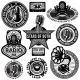 Set of retro badges templates gramofon, microphones, speaker, headphones, audiocassette Royalty Free Stock Images