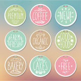 Set of retro badges. Vintage food labels. Hand-drawn lettering. Set of creative colored handmade food labels with inscriptions in vintage style. All the letters royalty free illustration