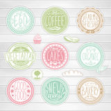 Set of retro badges. Vintage food labels. Hand-drawn lettering. Stock Photo