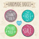Set of retro badges. Vintage labels. Hand-drawn lettering. Royalty Free Stock Images