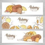 Set of retro bakery banners. Bakery products. Illustration Royalty Free Stock Photo