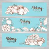 Set of retro bakery banners. Bakery products. Illustration Stock Image