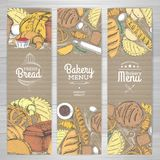 Set of retro bakery banners on cardboard. Bakery products. Illustration Stock Image