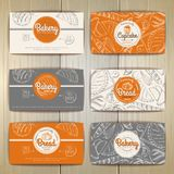 Set of retro bakery banners or cards. Bakery products illustration Royalty Free Stock Images