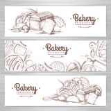 Set of retro bakery banners. Bakery products. Illustration Royalty Free Stock Image