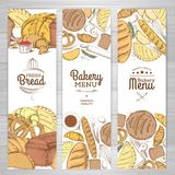 Set of retro bakery banners. Bakery products. Illustration Stock Photo