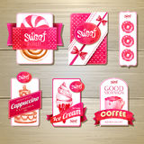 Set of retro bakery labels, ribbons and cards for design Royalty Free Stock Photography