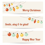 Set of retro banners with garlands, christmas balls,. Illustration background Stock Photo