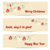 Set of retro banners with garlands,christmas balls,. Set of retro banners with garlands, textured christmas balls,  illustration background Stock Photo