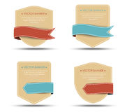 Set of retro banners and ribbons of different shapes Royalty Free Stock Photos