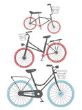 Set of retro bicycles. With white background. Vector image for your designs Stock Image