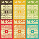 Set of retro  bingo or lottery cards for game Royalty Free Stock Photography
