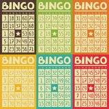 Set of retro  bingo or lottery cards for game Royalty Free Stock Images