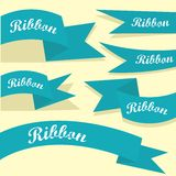 Set of retro blue ribbons and labels. Royalty Free Stock Photos