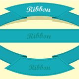 Set of retro blue ribbons and labels. Royalty Free Stock Images