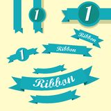 Set of retro blue ribbons and labels. Stock Photo