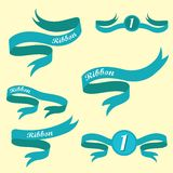 Set of retro blue ribbons and labels. Stock Image