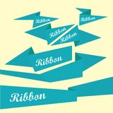 Set of retro blue ribbons and labels. Royalty Free Stock Photography