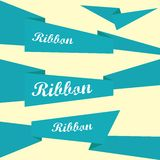 Set of retro blue ribbons and labels. Stock Photography