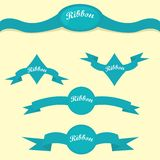 Set of retro blue ribbons and labels. Royalty Free Stock Photo