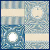 Set of retro blue wavy back. Grounds. Vector background of abstract waves Stock Photography