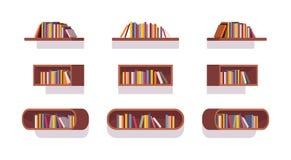 Set of retro bookshelves stock illustration