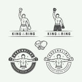 Set of retro boxing and martial arts logo badges and labels Royalty Free Stock Image