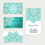 Set of retro business card templates with mandala Stock Image