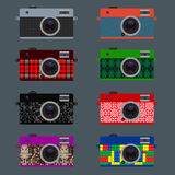 Set of Retro Cameras, hipster style Stock Photography