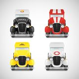 Set Retro Car Icon. Police With Flashing Lights, Red Fire Truck, Yellow Taxi, White Ambulance, Vector Illustration Royalty Free Stock Images