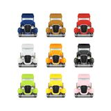 Set Retro Car Icon. Police With Flashing Lights, Red Fire Truck, Yellow Taxi, White Ambulance, Vector Illustration Stock Photo