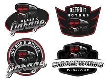 Set of retro car logo, emblems or badges. Set of retro car logo, emblems or badges isolated on white background. Car air intake and throttle body illustration Royalty Free Stock Photos