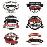 Set of  retro car service emblems. Vintage vehicle, repair autom Stock Photo