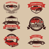 Set of  retro car service emblems. Vintage vehicle, repair autom Royalty Free Stock Images