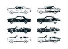 Set of retro car silhouettes Stock Image