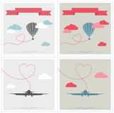 Set of retro cards with aerostat and plane flying. Vintage airships. airplane and aerostat with hearts. Vector Illustration stock illustration
