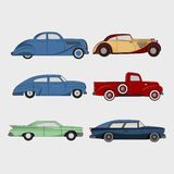 Set of retro cars. Cartoon Icon. Flat styled vector Illustration Royalty Free Stock Images
